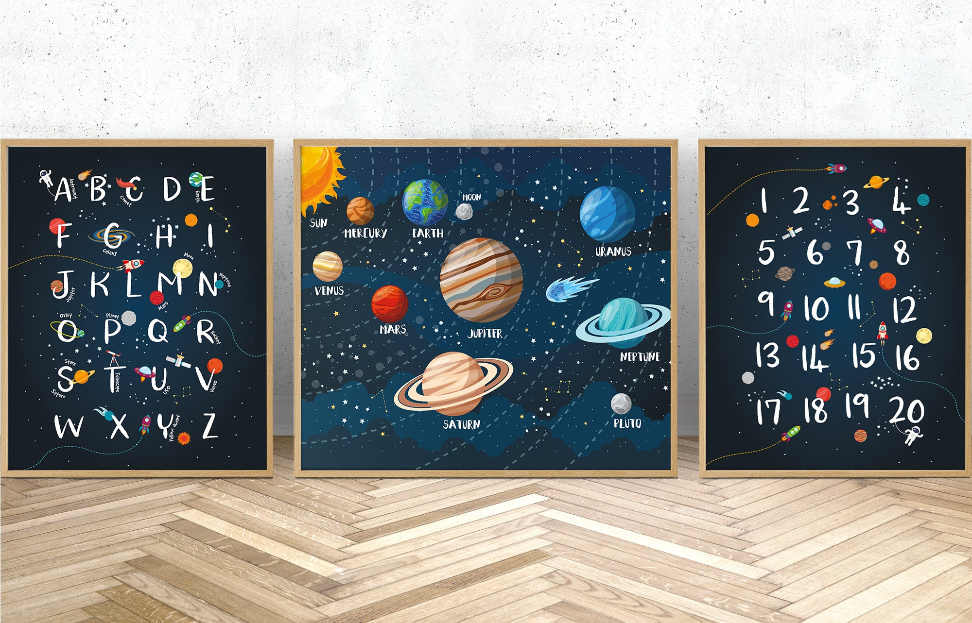 space themed nursery Space wall art set of 3 prints Custom baby name print outer space decor solar system print
