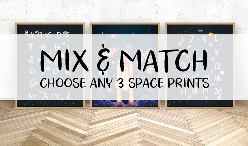 Mix and match choose any 3 prints set of 3 printable wall art solar system print Space themed nursery bedroom prints set of 3