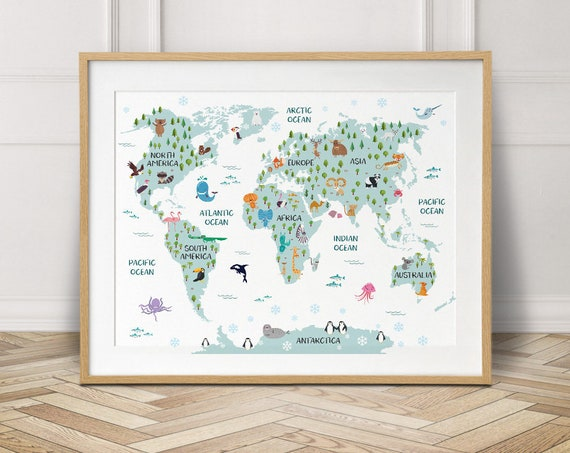 World map poster nursery decor travel map world map canvas etsy image 0 gumiabroncs Image collections