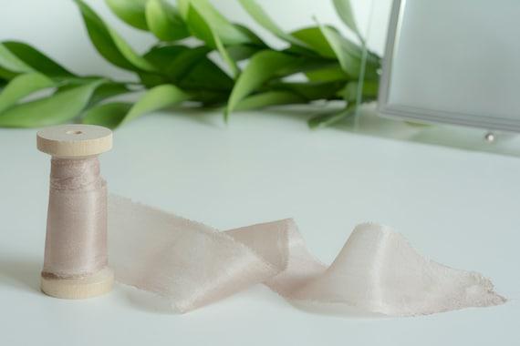 Hand dyed silk ribbon wedding bouquet ribbon on spool  rustic wedding decor wedding stationary Mauve neutral silk ribbon