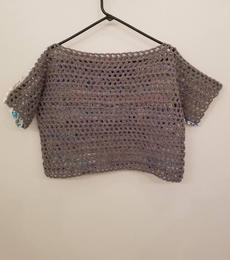 Crochet crop top  two toned crop top  crochet swim suit cover  beach coverup  mesh crop top  color block crochet shirt  blue crop top