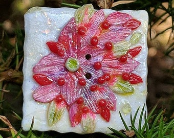 Pink and Red Blossoms Button