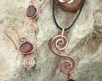 a set of copper and Czech glass.