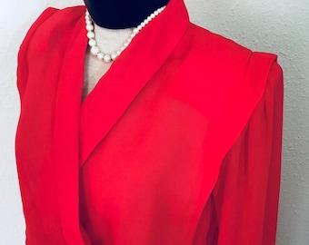 70/80's Vintage Red Sheer Long-sleeve Dress