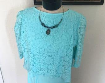 70's Vintage Aqua Blue Dress