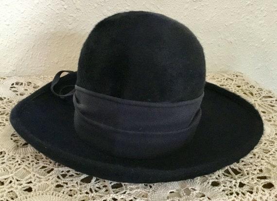 60's Vintage Navy Blue Faux Fur Hat - image 3