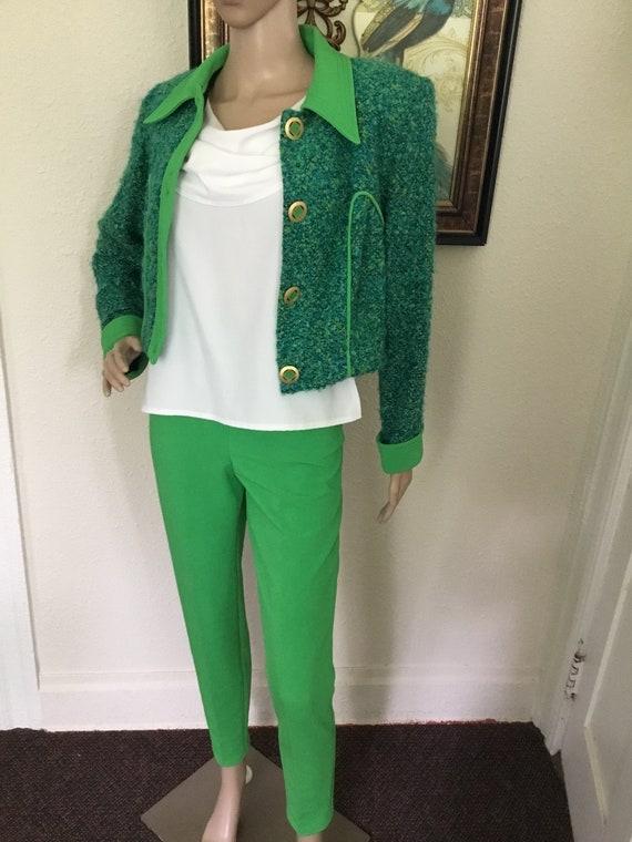 80's Vintage Green Retro Blue Knit Crop Jacket Hi-