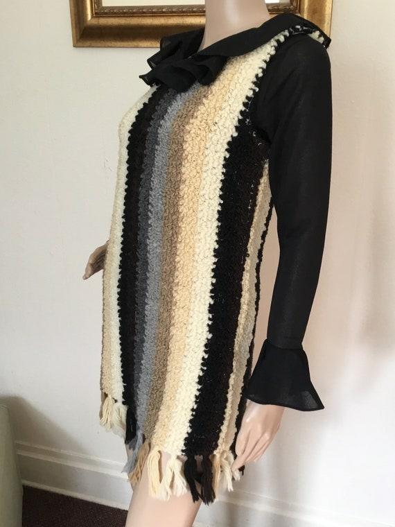Rare Vintage 60s Brown Black and White Mod Poncho Jacket Wrap