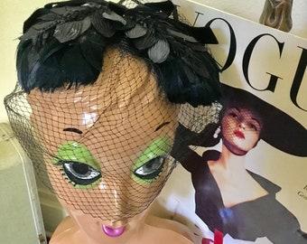 40's Vintage Black Feather Face Net Fascinator Headpiece