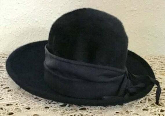 60's Vintage Navy Blue Faux Fur Hat - image 1