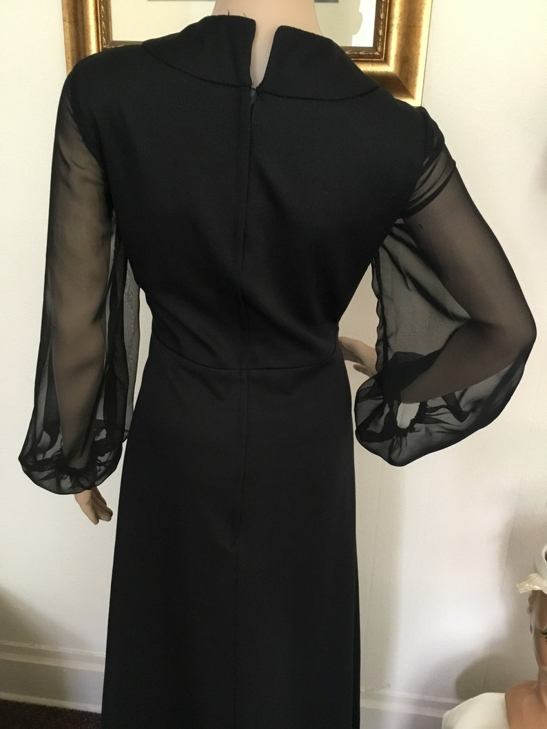 70\u2019s Vintage Black Sheer Sleeve Maxi Dress with Crystals