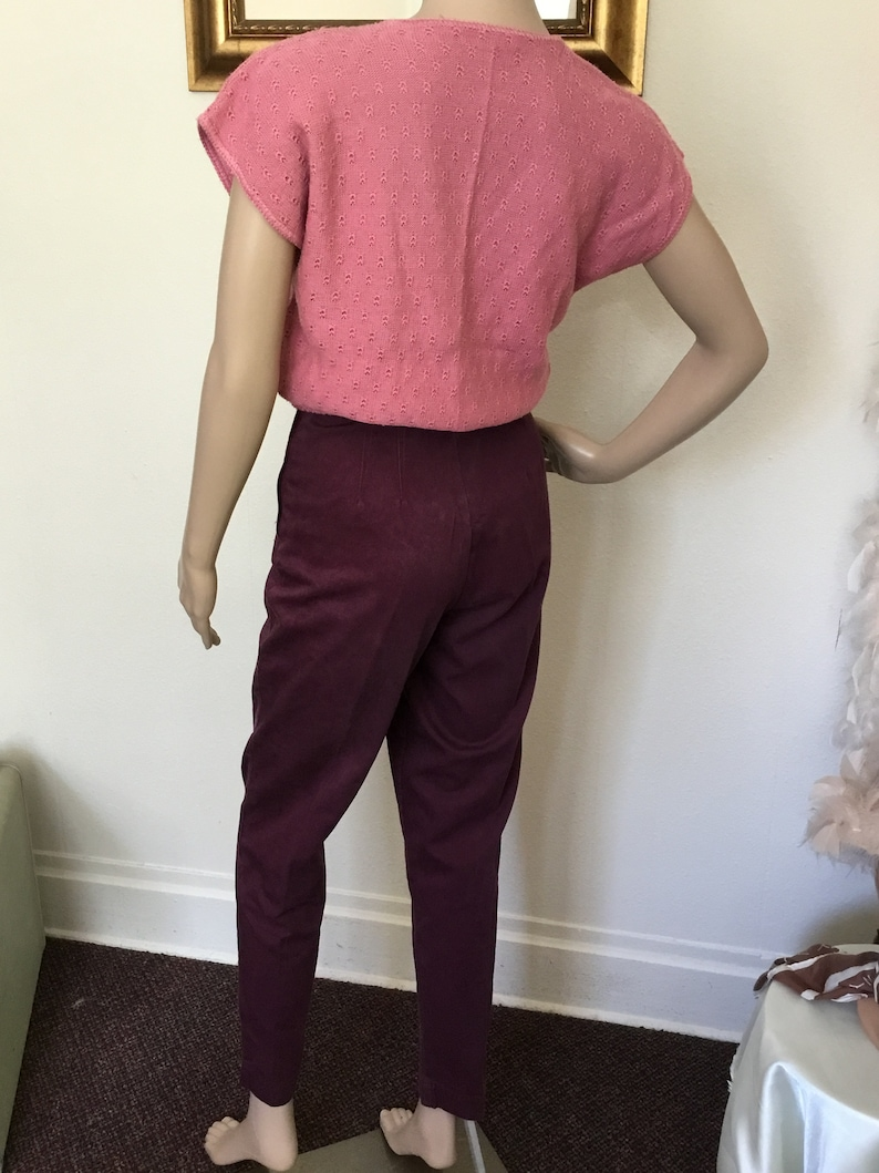 90/'s Vintage Maroon Hi-Waist Tapered Leg Pants