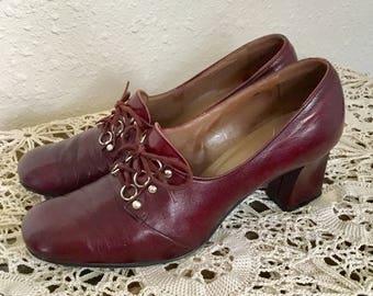 60's Vintage Maroon Leather Oxford Heels