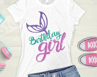 Mermaid Birthday Shirt Svg Girl Girls Iron On Transfer Tail Party