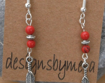 Red Turquoise, Tibetan Silver Feathers Earrings