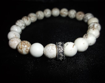 White Howlite Stone Stretch Bracelet