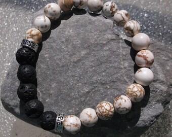 White Howlite and Lava Stone Aromatherapy Bracelet