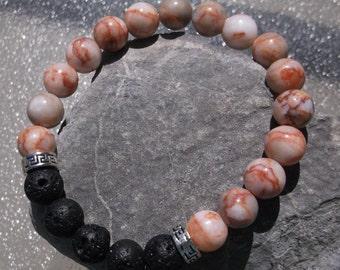 Red Vein Marble Jasper and Lava Stone Aromatherapy Bracelet