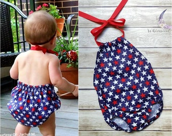 df0613ea2 American Girl Patriotic Bubble Romper, Independence Day, 4th of July Outfit,  Baby Girl, Toddler Girl, Stars, USA, Red White Blue
