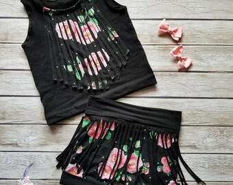 Boho Fringe Floral Black Shorts Tank Top Set Girls Baby Toddler