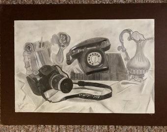 Realistic Still Life Charcoal Drawing Original
