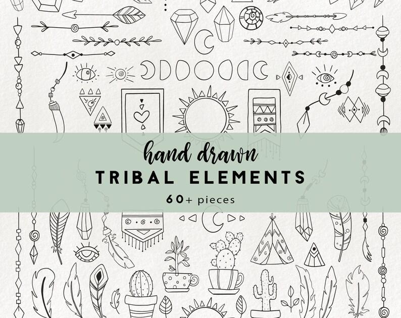 68 tribal elements - boho clipart, arrow clipart, doodle tribal elements,  hand drawn feather clipart, cactus clip art, clip art borders