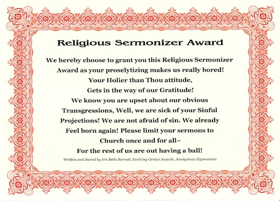 Religious Sermonizer Award, Funny Gifts, Gag gifts, Coworker Joke Gift,  Funny Neighbor Gift, Prank Gifts, Gag Gifts for Men, Wake up Awards