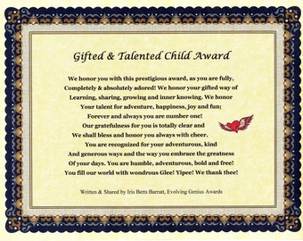 Gifted & Talented Child or Youth Awards, Appreciation Awards, Best Party Favors, Thankyou Gifts, Childrens Gifts, Birthday Gifts, Free Gift