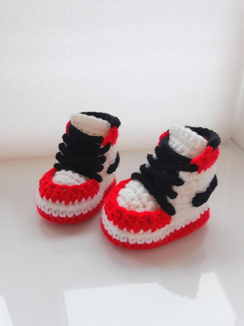 4544770d9c223 Crochet Air Jordan Style Baby Sneakers, Crochet Baby Nike Shoes, Crochet  Booties, Baby Shower Gift, Crochet sneakers