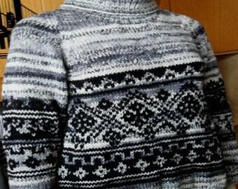 Grey-black sweater and hand made jacquard design
