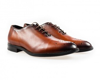 Elegant genuine leather men shoes SLS 010 COGNAC