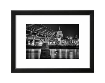 The Wobbly Bridge and St Pauls, London, Black & White Print, Wall Art, Photography