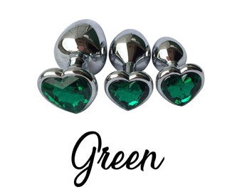 3f28af741 Set of GREEN Heart Shaped Stainless Steel Anal Training Plug Set