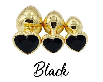 854eb21b0 Set of BLACK Heart Shaped Anal Training Plugs in Gold
