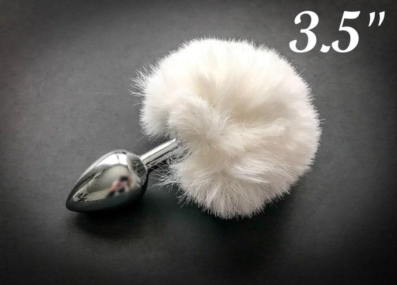 effef7ac0d9 Fluffy Fur Bunny Tail Butt Plug in White BDSM Sex Toys Anal