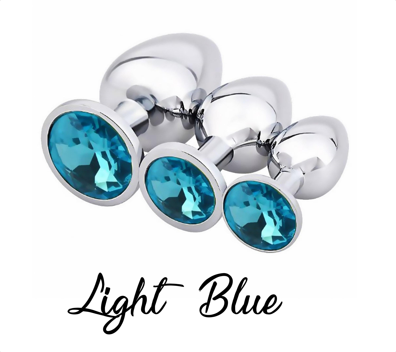 3 SIZE SET Aqua Blue Butt Toy Plug Anal Heart Jeweled Gem