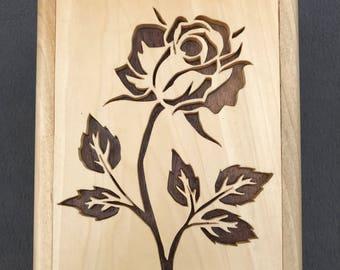 Wooden Rose Box/Handmade/Jewelry/Watches/Keepsakes