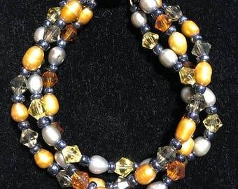 Fresh Water Pearl & Swarovski Crystal Bracelet