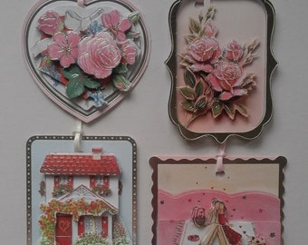 4 pack of assorted floral decoupage gift tags - ideal for Birthdays