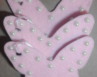 3 pack of baby pink felt & pearl butterfly gift tags ideal for Birthdays