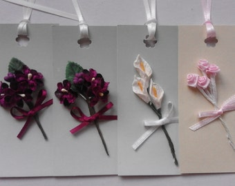 4 pack of artificial flower gift tags including orchids & roses - ideal for Birthdays