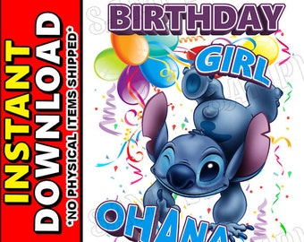 Instant Digital Iron On JPG File Download - Disney Lilo and Stitch Birthday Girl design for DIY T-Shirt