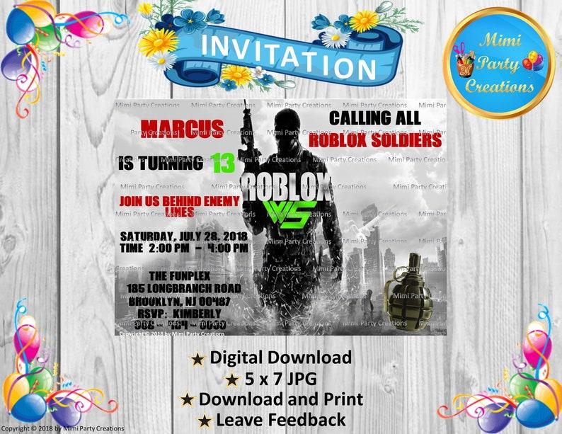Roblox Call Of Duty War Shock Birthday Invitation Digital Download - marcuses roblox