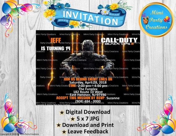 Call Of Duty Black Ops 3 Birthday Invitation Digital