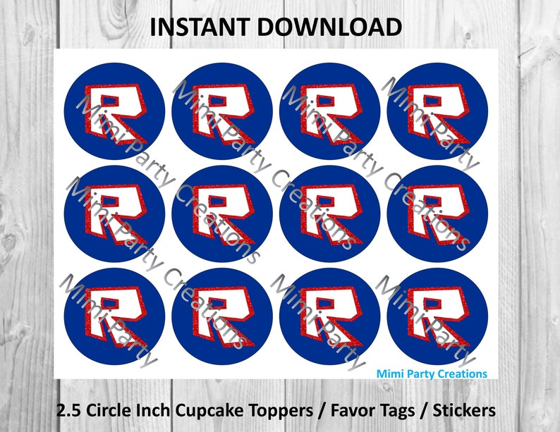 Roblox Logo Letter R With Red Glitter Cupcake Toppers Etsy