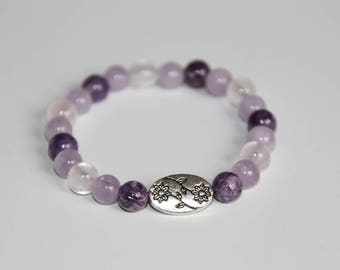 Natural 6mm beads: Amethyst, rose quartz and charoite.