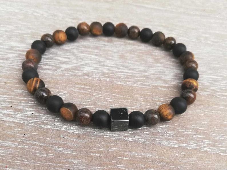 Beaded bracelet natural 6mm \u0152il Tiger matte Bronzite matte black Agate