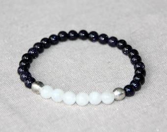 Blue 6mm Moonstone and Goldstone bracelet