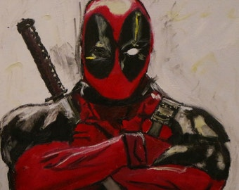 Deadpool Acrylic Painting handpainted canvas