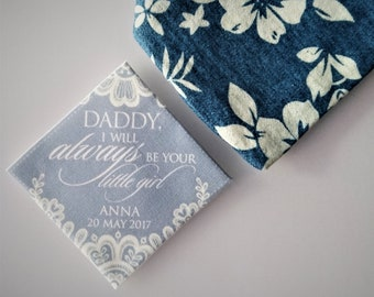 Daddy I will always be your little girl Personalised wedding tie patch, father of the bride gift, wedding tie patch, keepsake tie patch